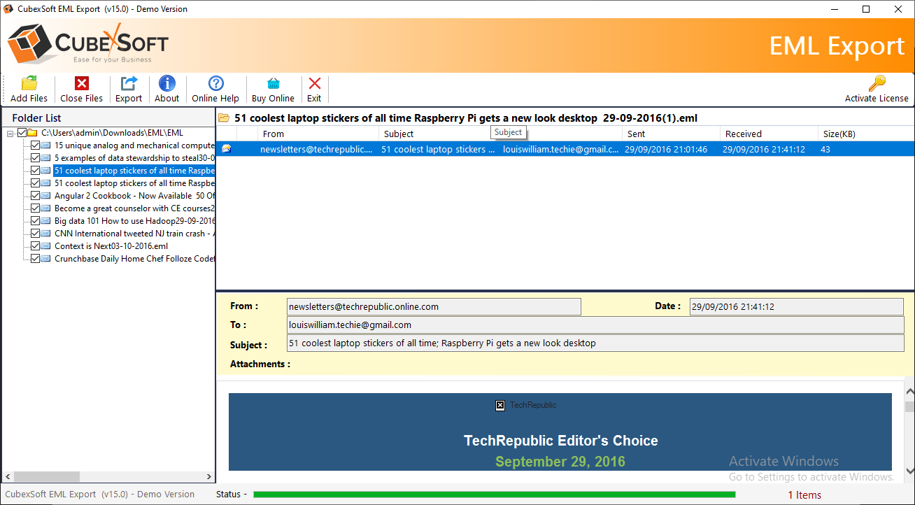 EML to office 365 Tool 1.0