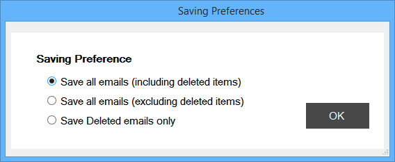select saving preferences for converting Outlook emails to MSG, EML, EMLX and MBOX